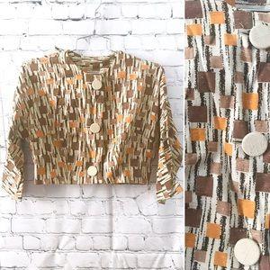 Vintage 1950's geometric pattern cropped jacket